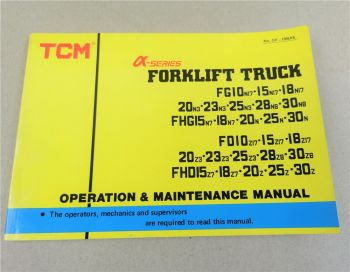 TCM FG FHG FD FHD 10 15 18 20 23 25 28 30 N Z 3 7 8 17 Operations Manual 1990
