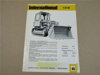 Prospekt IHC International Harvester 125B Laderaupe 4 Zylinder D239 Motor 66 PS