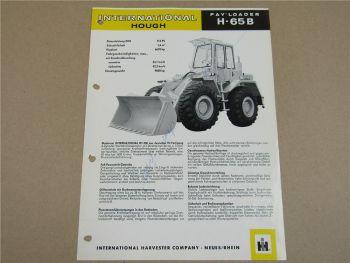Prospekt IHC International Harvester H-65B PayLoader mit 112 PS DT-358 Motor