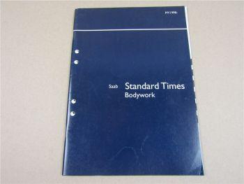Reparatur Saab 9-5 Standard Times Bodywork Vorgabezeiten Karosserie 98-2001
