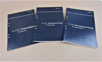 3x Saab 2002 Werkstattausrüstung Spezialwerkzeug Chemikalien Produktkataloge