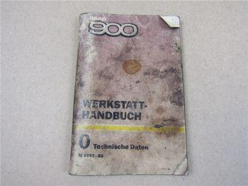 Saab 900 Werkstatthandbuch technische Daten 1981 - 1988