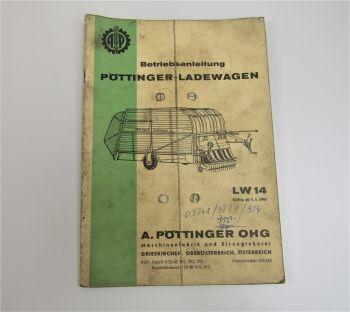 Pöttinger LW14 Ladewagen Betrieb ab 1/1965 Bedienungsanleitung Ersatzteilliste
