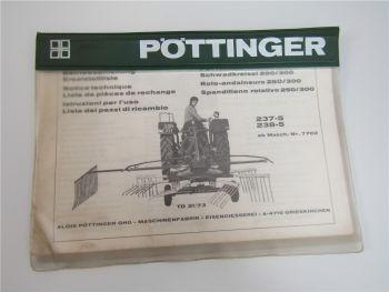 Pöttinger 250 300 Schwadkreisel 237-5 238-5 Bedienungsanleitung Ersatzteilliste