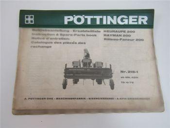 Pöttinger 200 Heuraupe Hayman 215-1 Bedienungsanleitung und Ersatzteilliste 1972