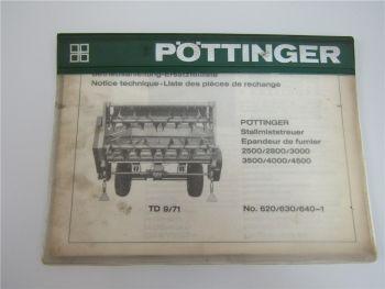 Pöttinger 2500 2800 3000 3500 4000 4500 Bedienungsanleitung Ersatzteilliste 1971