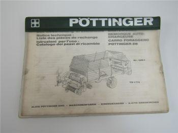 Pöttinger 28 Erntewagen 128-1 Bedienungsanleitung und Ersatzteilliste 1974
