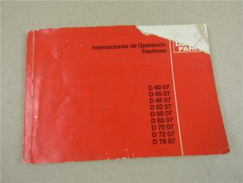 Deutz D 4007 4507 4807 5207 6007 6507- 7807 instrucciones de operacion tractores