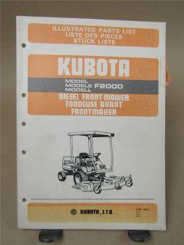 Kubota F2000 Frontmäher Ersatzteilliste Parts List Liste des piece 80/90er Jahre