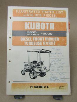 Kubota F2000 Parts List Liste des piece 3/1987 Front Mower Tondeuse Avant