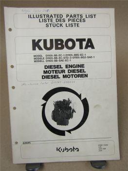 Kubota D1105 Motor Ersatzteilliste für Leiber Parts List Liste des pieces 6/1994