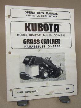 Kubota GC44T-E Grass Catcher Ramasseuse d herbe 4/1989 Operators manual Manuel d