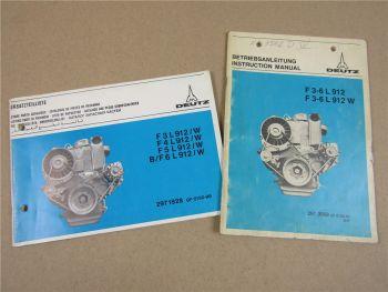 Deutz F3L F4L F5L F6L 912 W Motor Betriebsanleitung 1980 Ersatzteilliste 1977