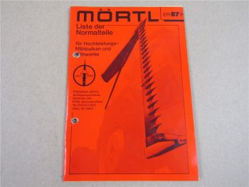 Mörtl Mähbalken und Mähwerke Ersatzteilliste Preisliste Liste der Normteile 1986