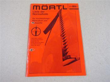 Mörtl Mähbalken und Mähwerke Ersatzteilliste Preisliste Liste der Normteile 1982