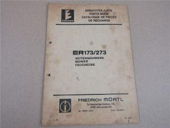 Mörtl ER173 ER273 Seitenmähwerk Ersatzteilliste 1976 Parts List Pieces Rechange