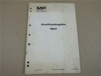 Massey Ferguson MF - Mörtl Ersatzteil Umschlüsselungsliste 12/1977