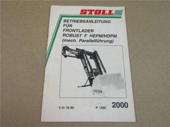 Stoll Robust F HEPM HDPM Frontlader Betriebsanleitung Bedienungsanleitung 2000