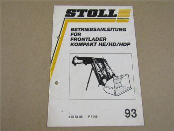 Stoll Frontlader Kompakt HE HD HDP 1993 Bedienungsanleitung Wartung