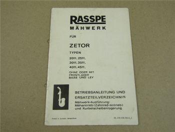 Rasspe Mähwerk für Zetor 2011 2511 3011 3511 4011 4511 Bedienung Ersatzteilliste