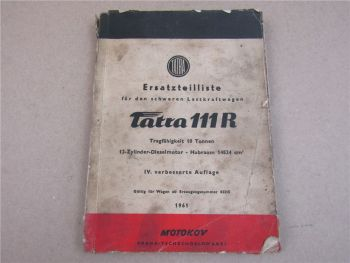 Ersatzteilliste TATRA 111R schwerer Lastwagen 10to 1961 ohne Bildteil