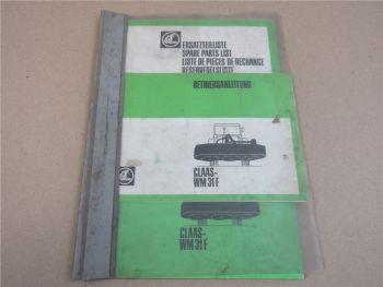 Claas WM31F Mähwerk Bedienungsanleitung Ersatzteilliste 1982