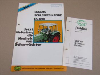 Prospekt EDSCHA Schlepperkabine EK4010 und Preisliste ab 1.3.1972