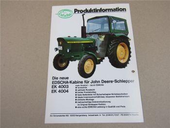 John Deere 820 - 3120 Traktoren mit Edscha Kabine Prospekt 70er Jahre