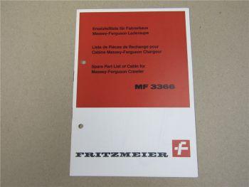 Fritzmeier Fahrerdach Massey Ferguson MF 3366 Laderaupe Ersatzteilliste 4/68