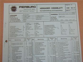 Pierburg 35/40 INAT Vergaser Ersatzteilliste Normaleinstellung Opel Ascona Manta
