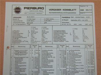 Pierburg 35/40 INAT Ersatzteilliste Normaleinstellung Opel Manta Ascona 1975-76