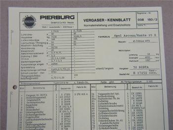 Pierburg 32 DIDTA Vergaser Ersatzteilliste Normaleinstellung Opel Manta Ascona