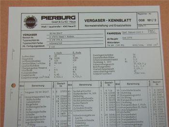 Pierburg 35/40 INAT Vergaser Ersatzteilliste Normaleinstellung Opel Rekord 2000S