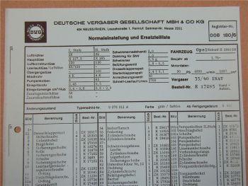 Pierburg 35/40 INAT Vergaser Ersatzteilliste Normaleinstellung Opel Rekord II