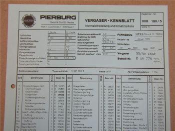 Pierburg 35/40 INAT Ersatzteilliste Normaleinstellung Opel Rekord II ab 1972
