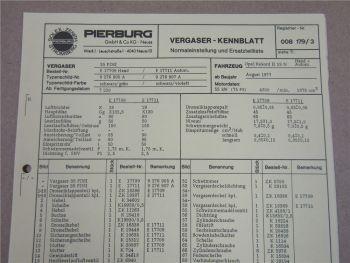 Pierburg 35 PDSI Vergaser Ersatzteilliste Normaleinstellung Opel Rekord II 19N