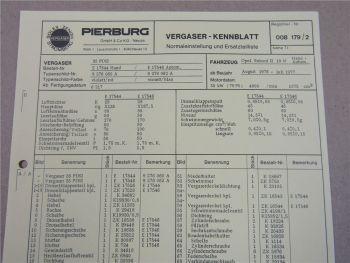 Pierburg 35 PDSI Vergaser Ersatzteilliste Normaleinstellung Opel Rekord II 76-77