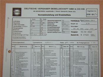 35/40 INAT Vergaser Ersatzteilliste Normaleinstellung Opel Rekord 2000 S ab 6/75