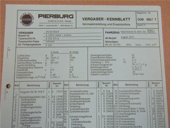Pierburg 35/40 INAT Vergaser Ersatzteilliste Normaleinstellung Opel Rekord II 2