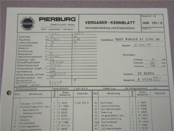 Pierburg 32 DIDTA Ersatzteilliste Normaleinstellung Opel Rekord 2 1700SH