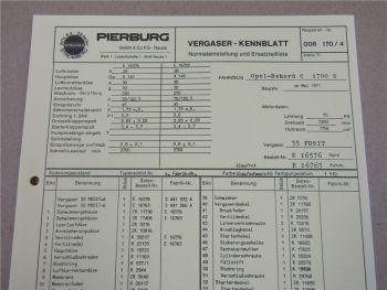 Pierburg 35 PDSIT Ersatzteilliste Normaleinstellung Opel Rekord C 1700S ab 5/71