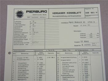Pierburg 35 PDSI Ersatzteilliste Normaleinstellung Opel Rekord II 1700N ab 1/72