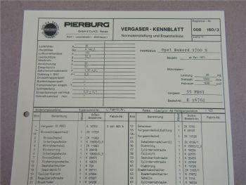Pierburg 35 PDSI Ersatzteilliste Normaleinstellung Opel Rekord 1700N ab 5/71