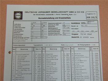 35/40 INAT Vergaser Ersatzteilliste Normaleinstellung Opel Commodore B 2500 S