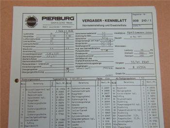Pierburg 35/40 INAT Vergaser Ersatzteilliste Normaleinstellung Opel Commodore