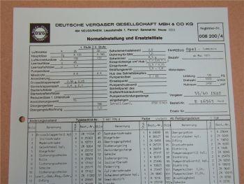 35/40 INAT Vergaser Ersatzteilliste Normaleinstellung Opel Commodore ab 5/71