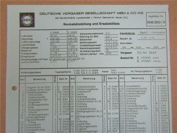 35/40 INAT Vergaser Ersatzteilliste Normaleinstellung Opel Commodore 1970-71