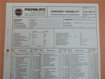 Pierburg 35/40 INAT Ersatzteilliste Normaleinstellung Opel Commodore B28SC