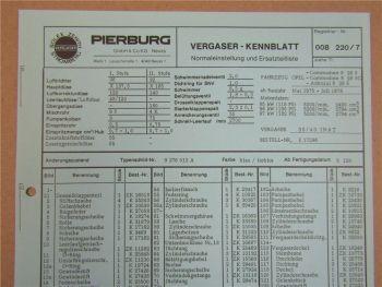 Pierburg 35/40 INAT Ersatzteilliste Normaleinstellung Opel Commodore und Admiral