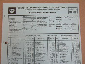 Pierburg 35/40 INAT Ersatzteilliste Normaleinstellung Opel Commodore 28 S C